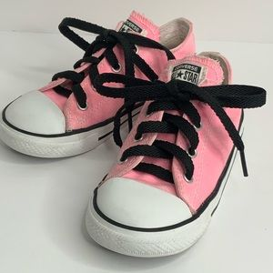 Converse low tops pink/black sneakers size 10 girl